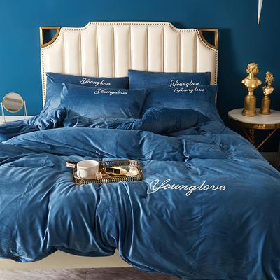 2019新款水晶绒四件套-摩西 1.5m/1.8m床单款四件套 摩西-蓝