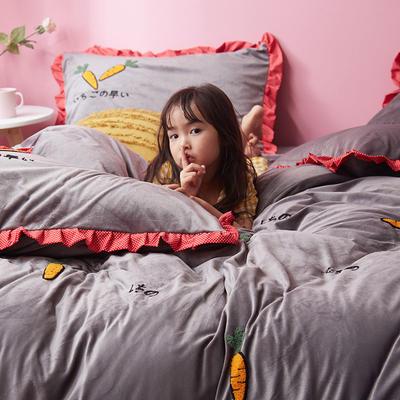 2019新款超柔保暖水晶绒四件套-水果类 1.8m床单款 萝卜派-灰