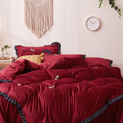 2019新款超柔保暖水晶绒四件套-水果类 1.8m床单款 蜜可-红