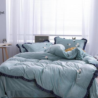 2019新款超柔保暖水晶绒四件套-水果类 1.8m床单款 小雏菊-蓝