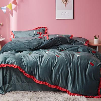 2019新款超柔保暖水晶绒四件套-水果类 1.8m床单款 樱桃派-墨绿