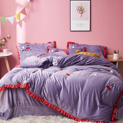 2019新款超柔保暖水晶绒四件套-水果类 1.8m床单款 樱桃派-紫