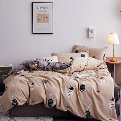 2019新款13372棉加绒保暖四件套 1.2m床单款三件套 菠萝心语