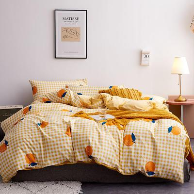 2019新款13372棉加绒保暖四件套 1.2m床单款三件套 甜心桔