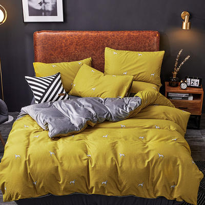 2019新款轻奢系列棉加绒四件套 1.8床单款四件套 斑点豹-黄