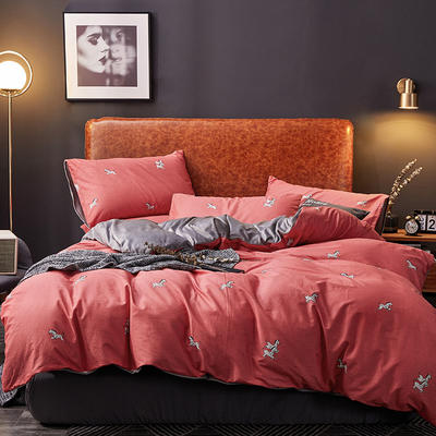 2019新款轻奢系列棉加绒四件套 1.8床单款四件套 斑马-珊红