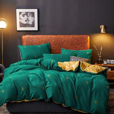 2019新款轻奢系列棉加绒四件套 1.8床单款四件套 皇冠-绿