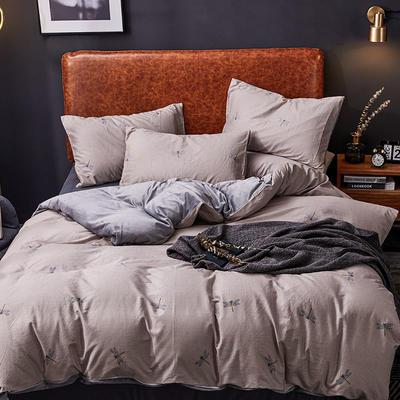 2019新款轻奢系列棉加绒四件套 1.8床单款四件套 蜻蜓-驼