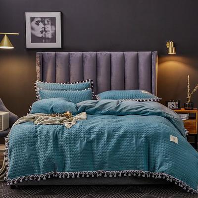 2019新款水晶绒罗曼蒂克绗缝四件套 1.8m床单款四件套 罗曼蒂克-苍灰青