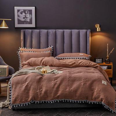2019新款水晶绒罗曼蒂克绗缝四件套 1.8m床单款四件套 罗曼蒂克-焦糖色