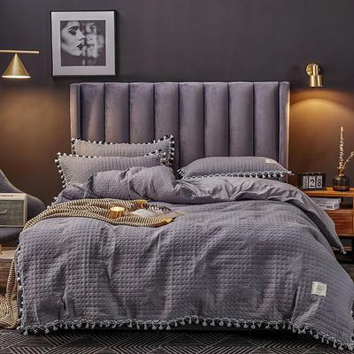 2019新款水晶绒罗曼蒂克绗缝四件套 1.8m床单款四件套 罗曼蒂克-酷感灰