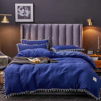 2019新款水晶绒罗曼蒂克绗缝四件套 1.5m床单款四件套 罗曼蒂克-神秘蓝