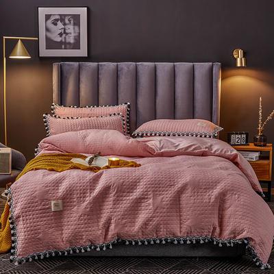 2019新款水晶绒罗曼蒂克绗缝四件套 2.0m床笠款四件套 罗曼蒂克-樱花粉