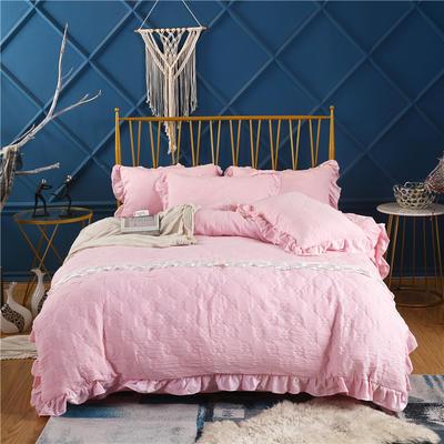 2019新款-纯色水洗棉四件套 床笠款1.8m(6英尺)床 蔓莎-粉