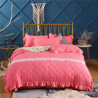2019新款-纯色水洗棉四件套 床笠款1.8m(6英尺)床 蔓莎-红