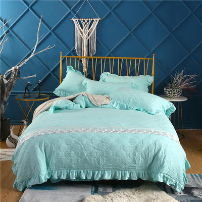 2019新款-纯色水洗棉四件套 床笠款1.8m(6英尺)床 蔓莎-蓝
