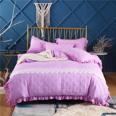 2019新款-纯色水洗棉四件套 床笠款1.8m(6英尺)床 蔓莎-紫