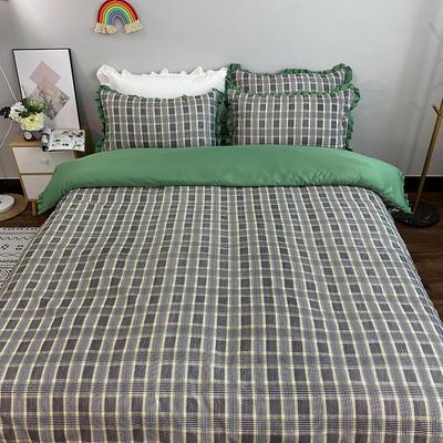 2020新款-韓版貢緞真絲四件套 1.5m床單款 綠橫條