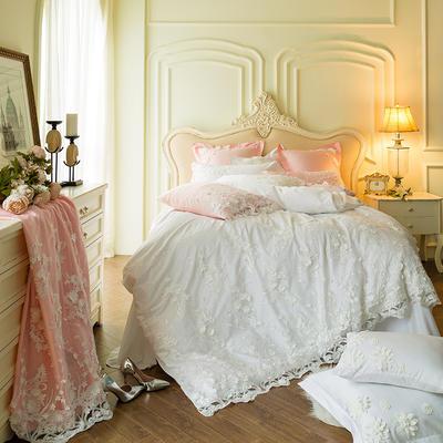 60贡缎长绒棉刺绣款四件套--梦中的婚礼(白) 标准(1.5-1.8m)床 梦中的婚礼(白)