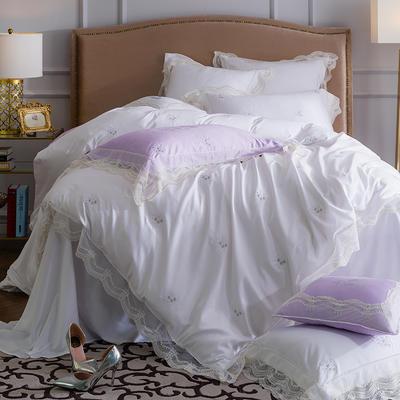 60贡缎长绒棉蕾丝刺绣款四件套--飘(白) 标准(1.5-1.8m)床 飘(白)