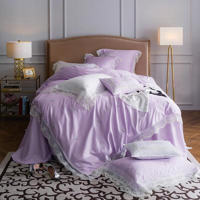 60贡缎长绒棉蕾丝刺绣款四件套--飘(浅紫) 标准(1.5-1.8m)床 飘(浅紫)