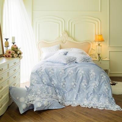 60贡缎长绒棉立体蕾丝款四件套--梦中的婚礼(蓝) 标准(1.5-1.8m)床 梦中的婚礼(蓝