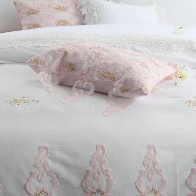 【秋冬新品】60支贡缎长绒棉四件套 2.0m(6.6英尺)床 伊芙小抱枕35*50一个含芯