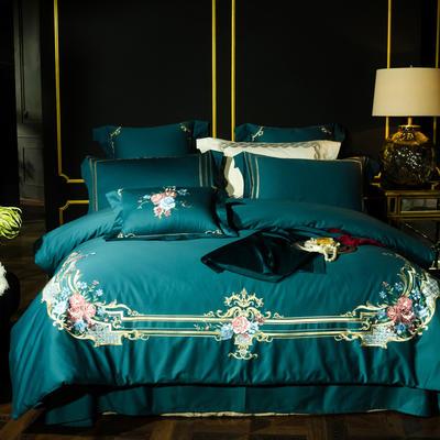 2018新款秋冬新品--【60支磨毛奢华刺绣系列】 1.8m(6英尺)床 蓝色多瑙河