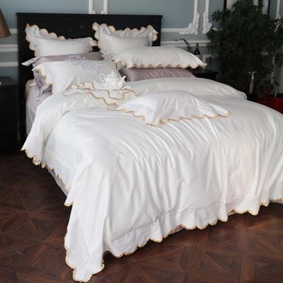 100支匹马棉绣花长绒棉四件套/漫境/6色/白色 1.8m(6英尺)床 白