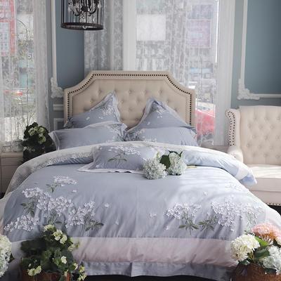 新款工艺唯美款/60支贡缎长绒棉/香颂 1.8m(6英尺)床 小抱枕35*50一个含芯