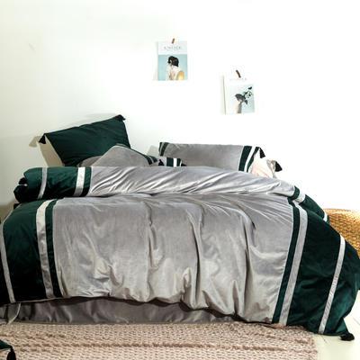 2019新款-高克重丽丝绒四件套【夜寐】 床单款1.8m(6英尺)床 浅灰色