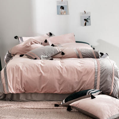 2019新款-高克重丽丝绒四件套【夜寐】 床单款1.8m(6英尺)床 豆沙色