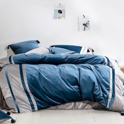2019新款-高克重丽丝绒四件套【夜寐】 床单款1.8m(6英尺)床 深蓝色