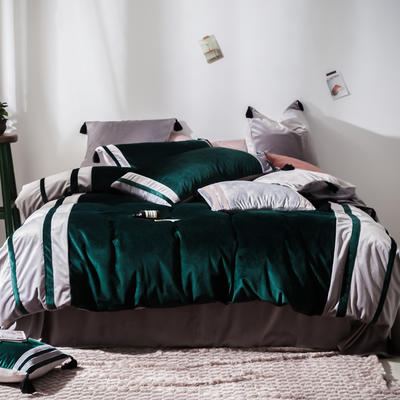 2019新款-高克重丽丝绒四件套【夜寐】 床单款1.8m(6英尺)床 墨绿色