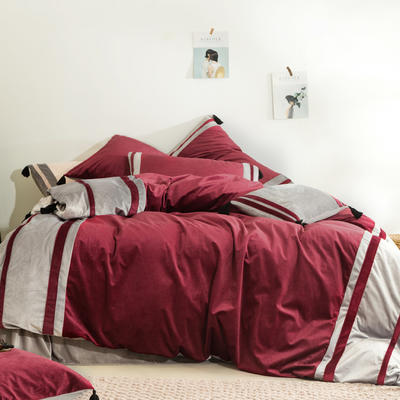 2019新款-高克重丽丝绒四件套【夜寐】 床单款1.5m(5英尺)床 酒红色