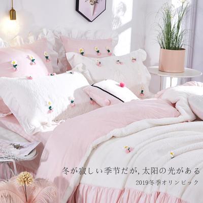 2019新款-兔兔绒四件套【立体樱桃】 床单款1.8m(6英尺)床 立体樱桃