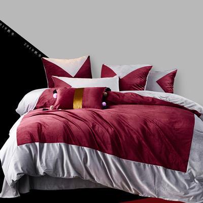 2019秋冬新款丽丝绒四件套--几何款 1.5m(床单款四件套) 几何--玫瑰红