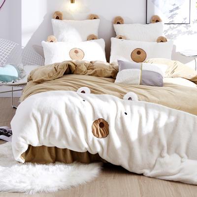 2019新款-兔兔绒【小熊】 床裙款1.5m(5英尺)床 小熊