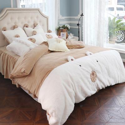 2019新款-兔兔绒【小熊】实拍图 床裙款1.5m(5英尺)床 小熊