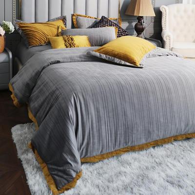 2019新款-金絲絨四件套 床單款1.8m(6英尺)床 奧丁灰