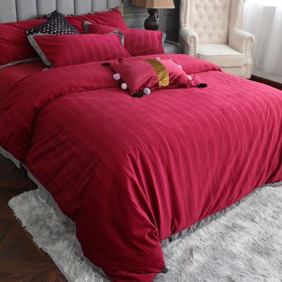2019新款-金丝绒四件套 床单款1.8m(6英尺)床 酒红