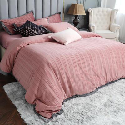 2019新款-金丝绒四件套 床单款1.8m(6英尺)床 橡皮粉