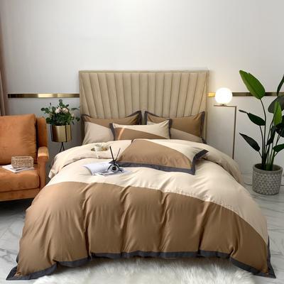 2020新款-A類奧棉未央斜拼(奧棉)四件套 床單款1.5m(5英尺)床 焦糖+奶茶