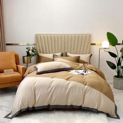 2020新款-A類奧棉未央斜拼(奧棉)四件套 床單款1.5m(5英尺)床 奶茶+焦糖