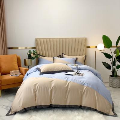 2020新款-A類奧棉未央斜拼(奧棉)四件套 床單款1.5m(5英尺)床 奶茶+天藍