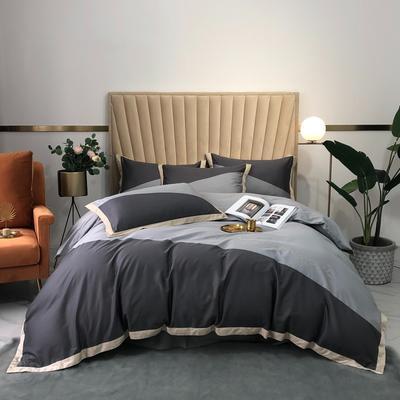 2020新款-A類奧棉未央斜拼(奧棉)四件套 床單款1.5m(5英尺)床 深灰+銀灰