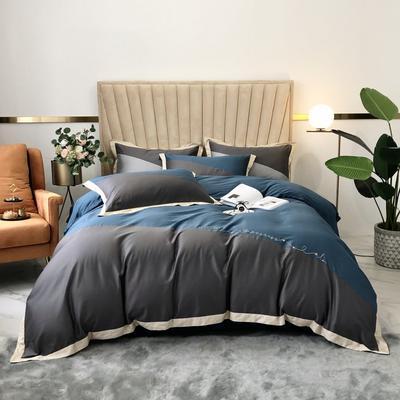 2020新款-A類奧棉未央斜拼(奧棉)四件套 床單款1.5m(5英尺)床 深灰+臻藍