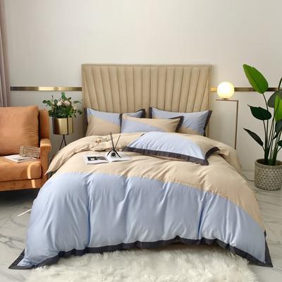 2020新款-A類奧棉未央斜拼(奧棉)四件套 床單款1.5m(5英尺)床 天藍+奶茶