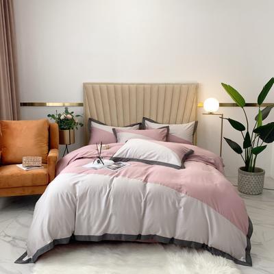 2020新款-A類奧棉未央斜拼(奧棉)四件套 床單款1.5m(5英尺)床 銀灰+柔霧粉