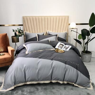 2020新款-A類奧棉未央斜拼(奧棉)四件套 床單款1.5m(5英尺)床 銀灰+深灰